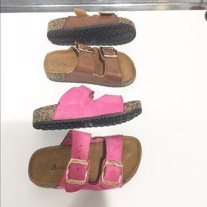 (2) Anne Marie double buckle cork slides